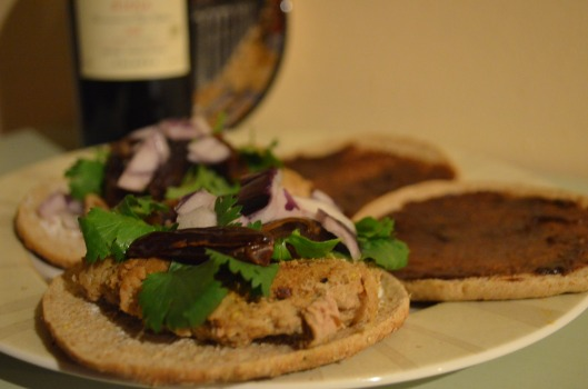 Chipotle turkey burger with goat cheese, cilantro, red onion, chocolate fig spread and dates