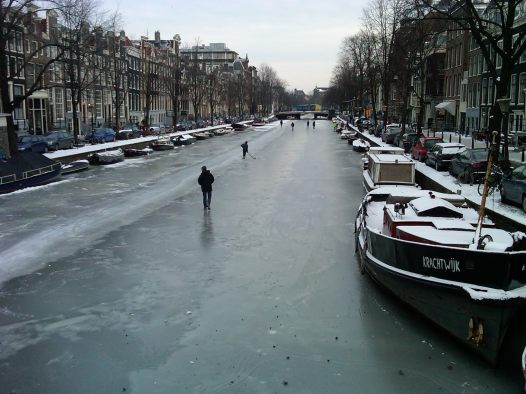 Amsterdam Ice Skater on Frozen Canals