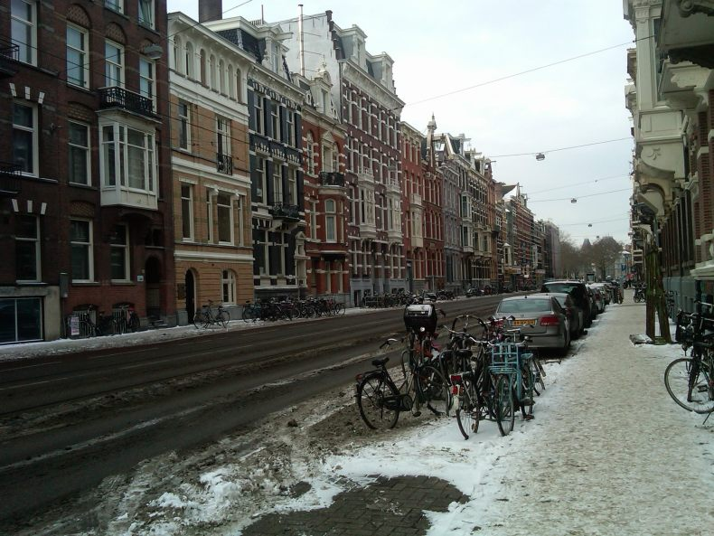 Amsterdam Morning Commute: I took a moment to document the bikes on my way to the train station.