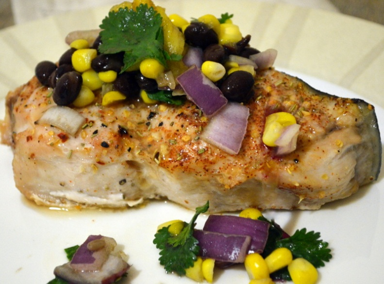 Swordfish with Black bean, Cilantro, Pineapple, Cumin, Corn, Red Onion Salsa