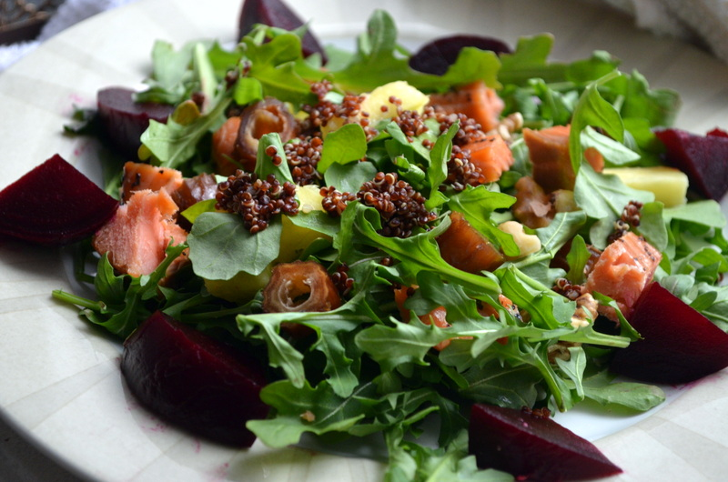 Cured Smoked Salmon, Beetroot, Quinoa Salad