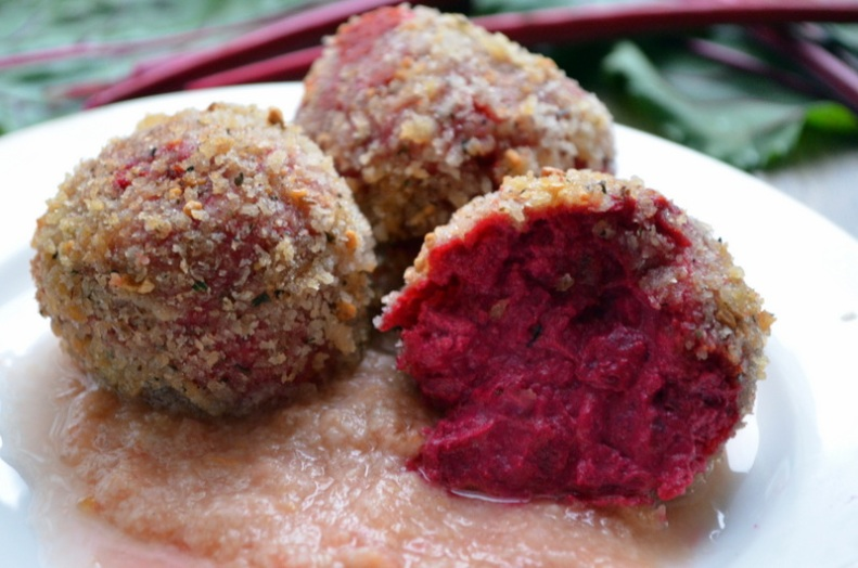 Goat Cheese and Beet Croquetas over Salmorejo