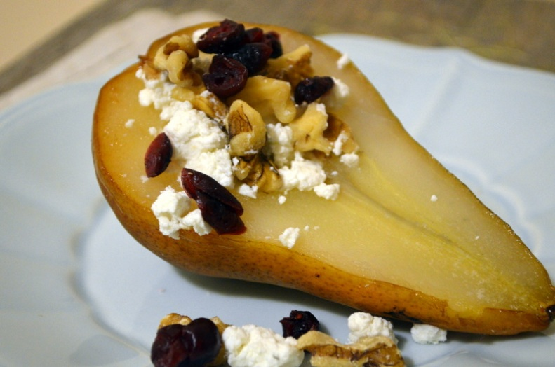 Pear stuffed with Goat Cheese, Crushed Walnuts and Dried Cranberries