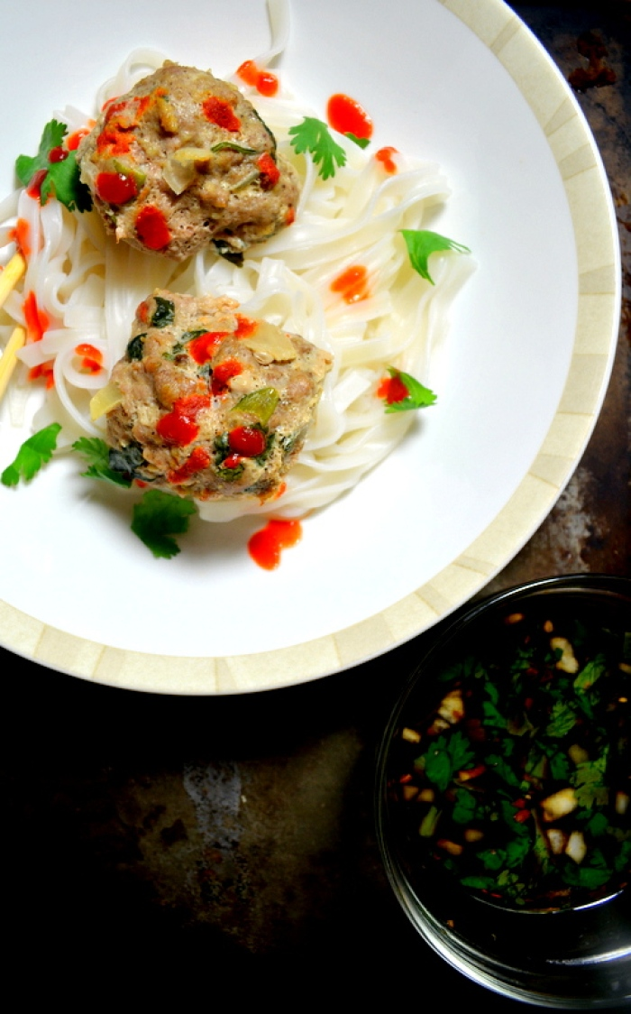 Asian Meatballs over Rice Noodles and Dipping Sauce