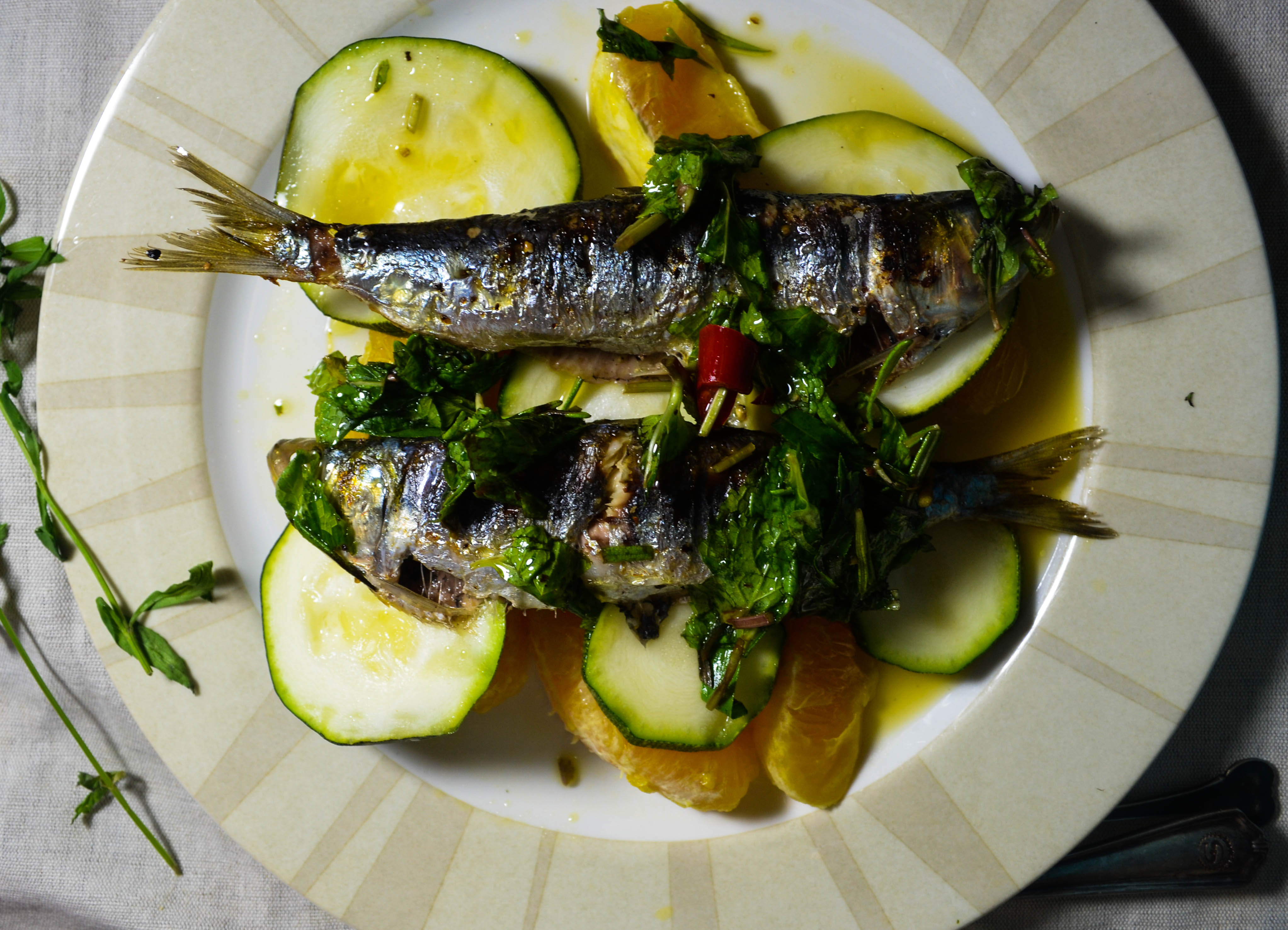 Grilled Sardines Amp Zucchini W Citrus Herbs Amp Chilis